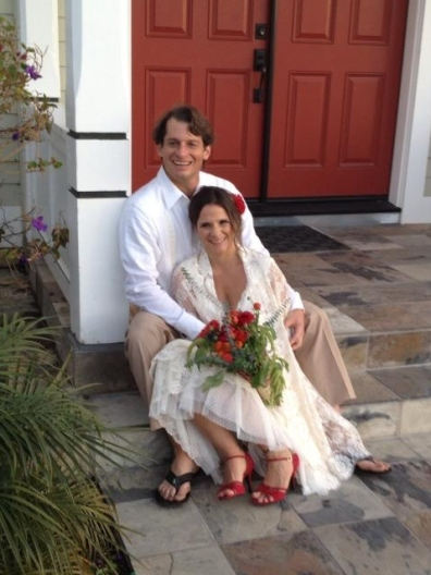 Married couple in front of church