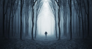 man in a dark forest