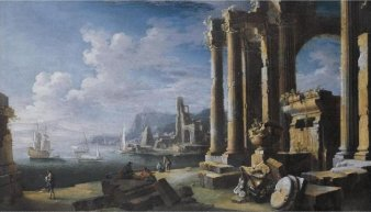 A_capriccio_of_architectural_ruins_with_a_seascape_beyond,_oil_on_canvas_painting_by_Leonardo_Coccorante